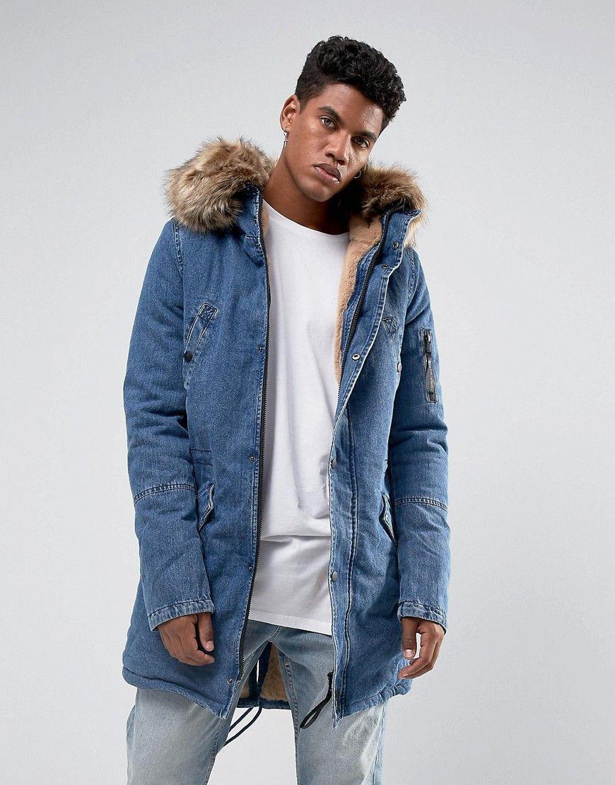 a166cec322 Sixth June Denim Parka Jacket With Oversized Faux Fur Hood - Blue