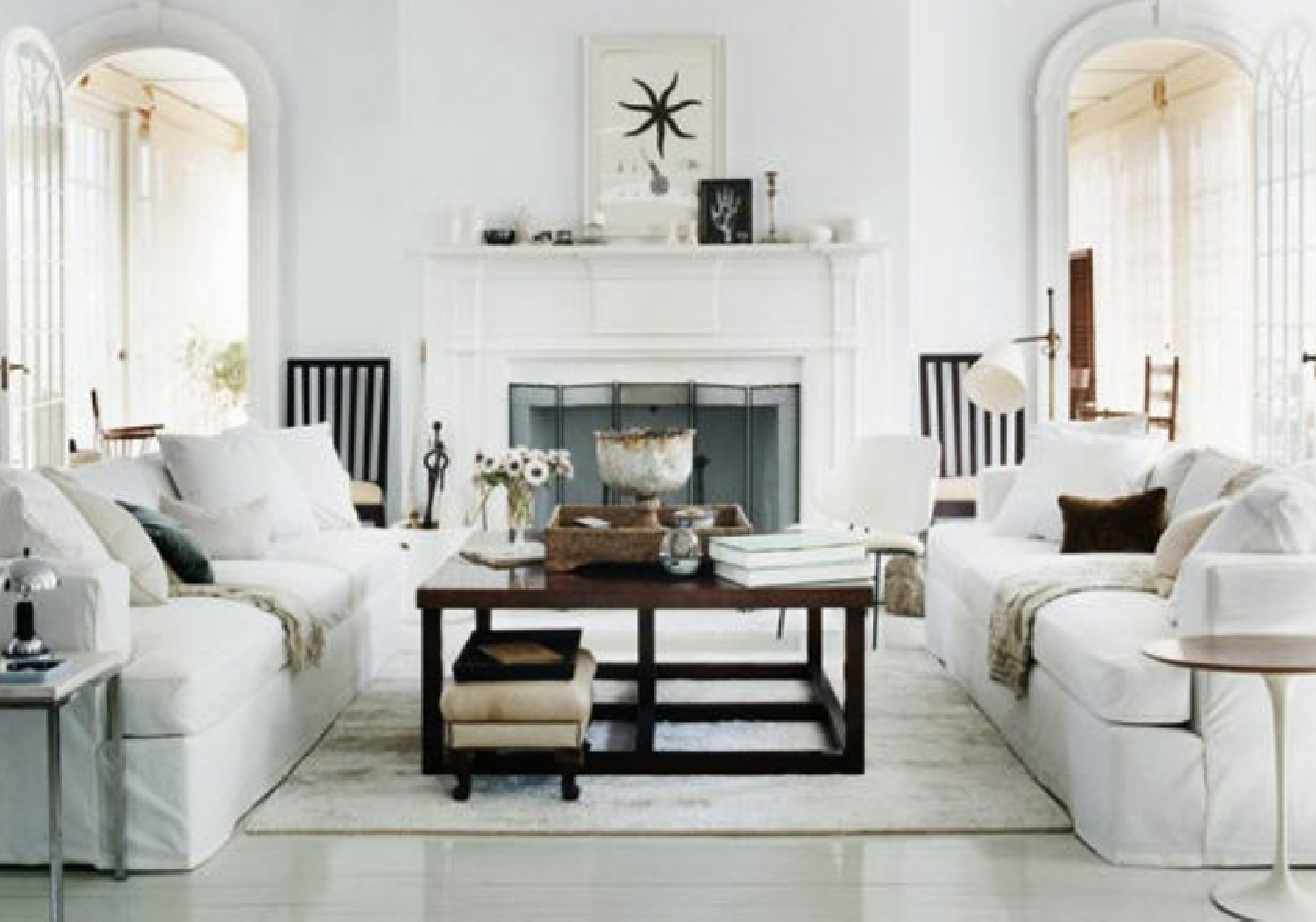 White rustic modern new traditional living room | The Living ...