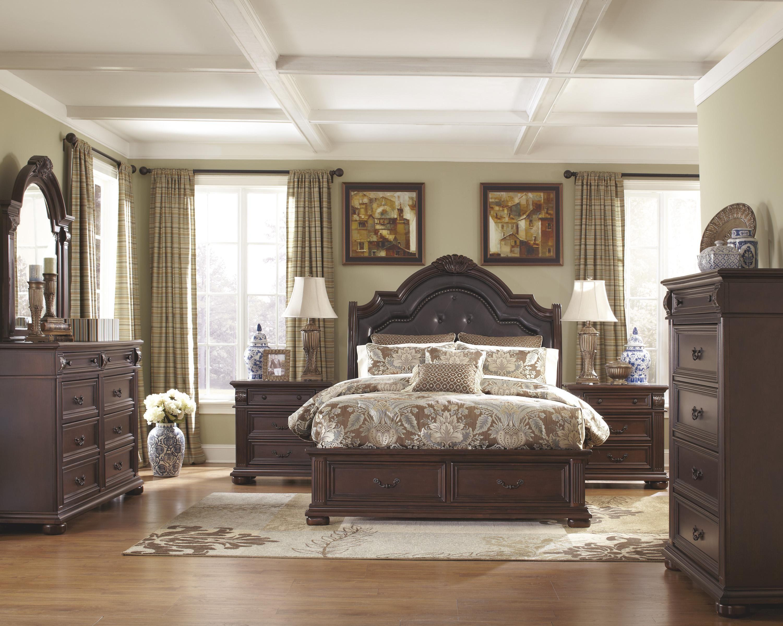 Ashley Caprivi Upholstered Panel Headboard Bedroom Set In Brown King Furniture Bedroom