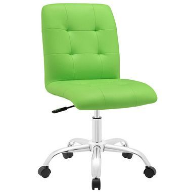 Prim Adjustable Swivel Armless Leather Mid Back Office Chair in Bright Green
