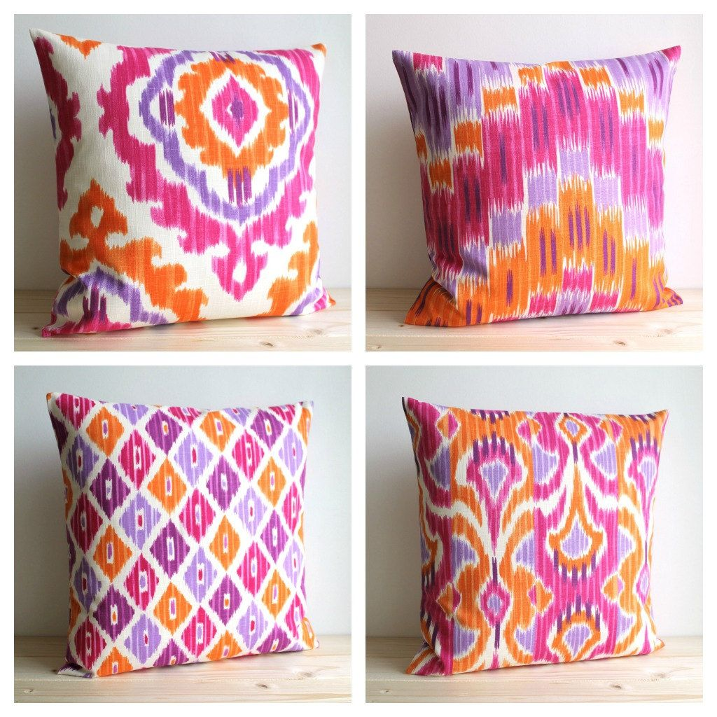 Orange and Pink Ikat Pillow Cover - 19x19 Ikat Cushion Cover ...