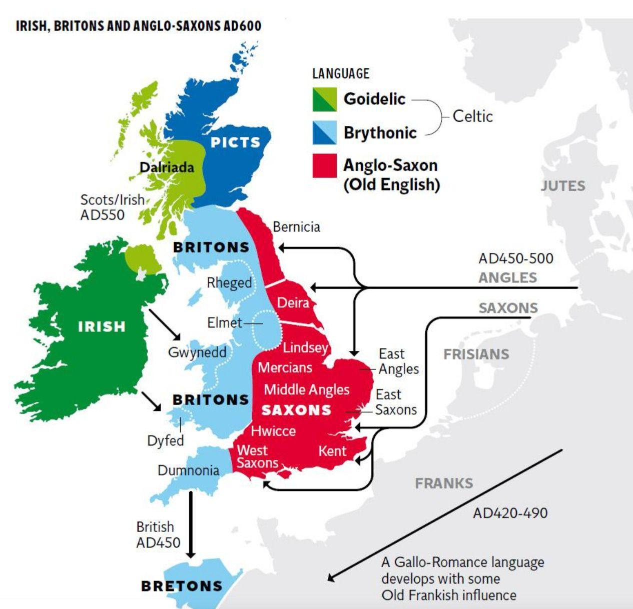 Map Of Ireland 600 Ad.Irish Britons And Anglo Saxons Ad 600 Maps Ethno Migratory
