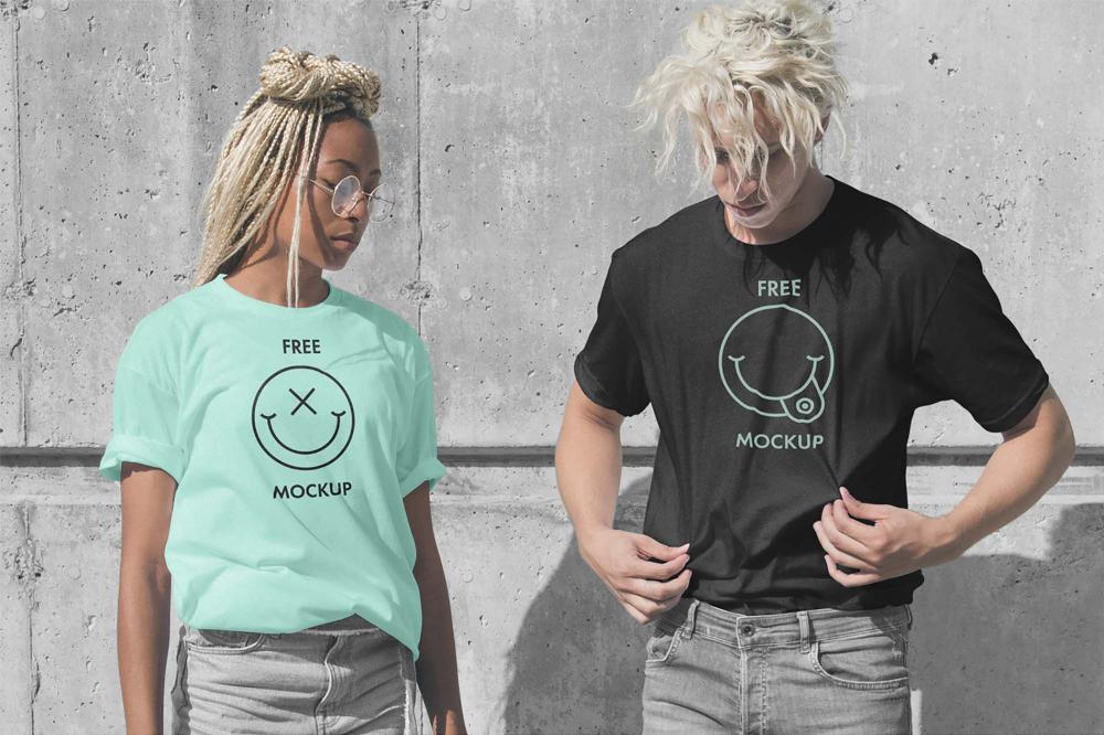 Download Free Male Female T Shirts Mockup Psd Shirt Mockup Tshirt Mockup Clothing Mockup