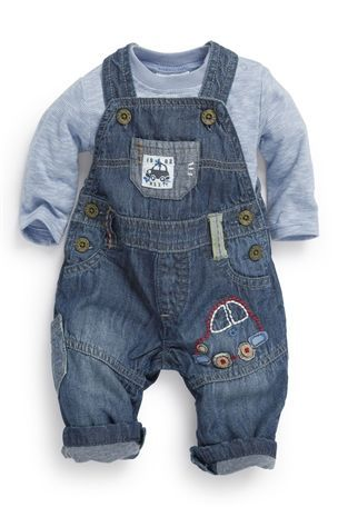 Baby Outfits & Sets The Cheapest Price Next Baby Boy Girl Denim Look Dungarees With Stars