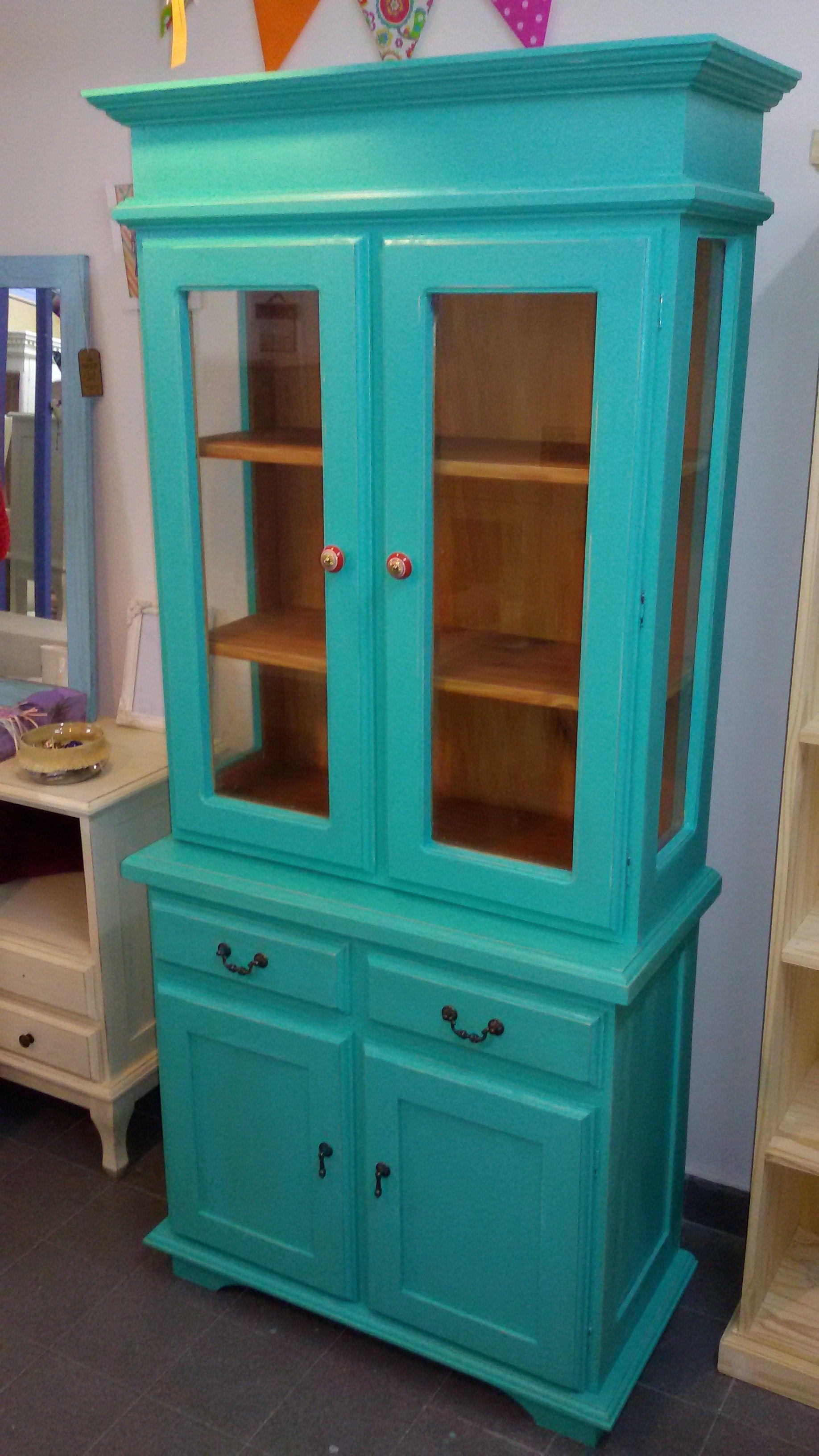 Modular Romano Recto Con Vidrios Y Estantes Interiores Vitrinas  # Muebles Punto Paso