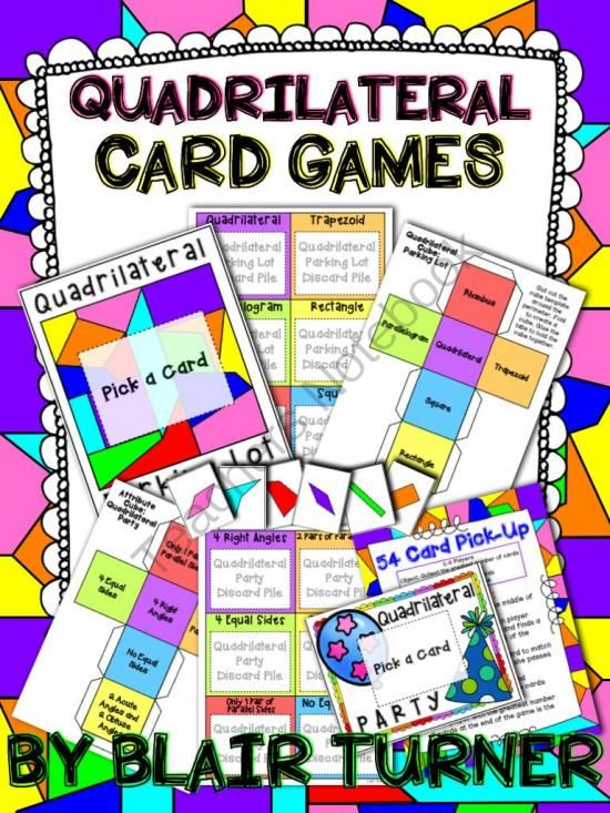 Quadrilateral Card Games 3.G.1 from Blair Turner on TeachersNotebook.com (36 pages)  - These fun quadrilateral card games will help reinforce difficult geometry concepts. Three engaging games are included. This resource is aligned with Common Core standard 3.G.1.
