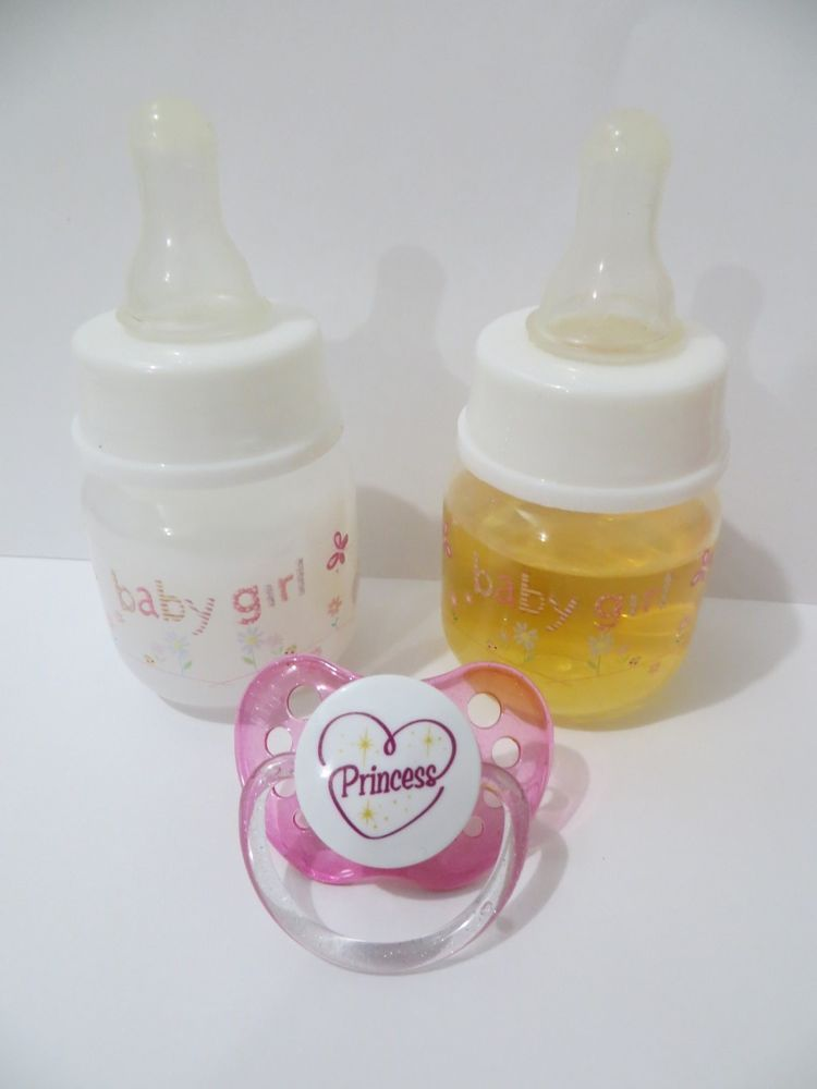 Reborn Baby Dolls OOAK Girl Faux Formula Milk Bottle Flower Pacifier Diaper Set
