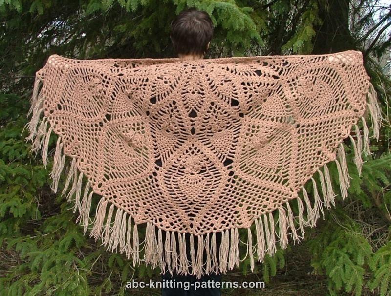 Semi Circle Pineapple Shawl Free Crochet Pattern Crochet Womens