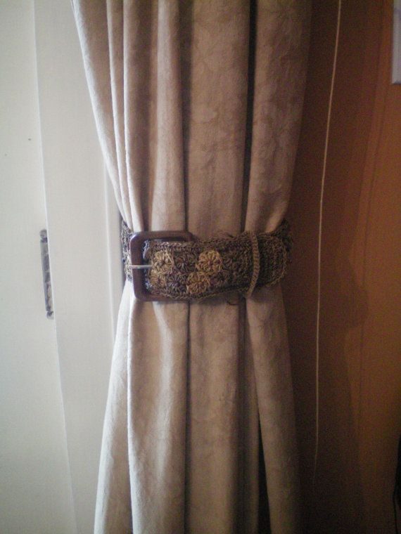Curtain Tiebacks Using Belts Great Idea Use Crotched Leather Fabric Metal Metalic Canvas Of Gemed Belt Depending On U Curtain Tie Backs Curtains Curtain Ties