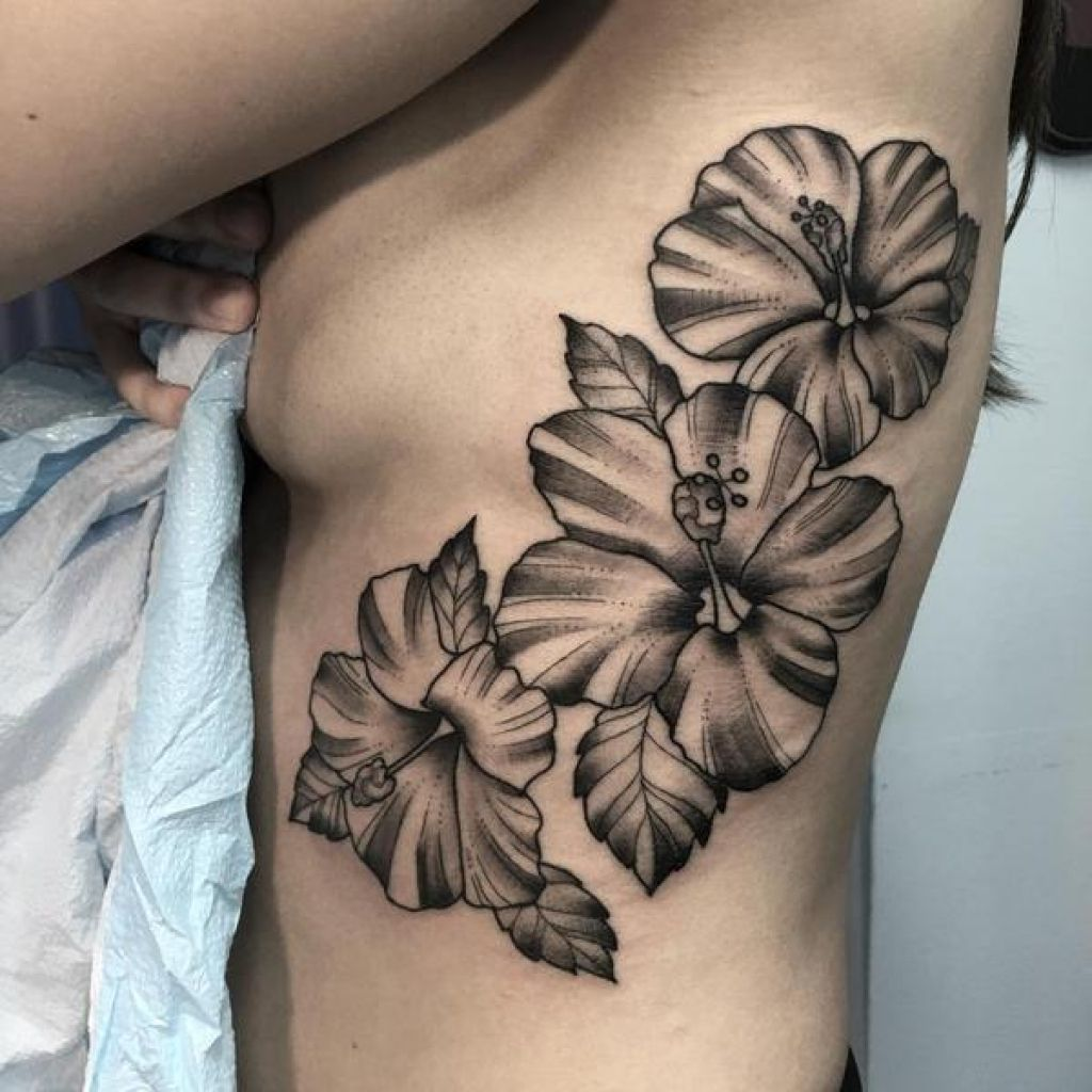 24 Hibiscus Flower Tattoos Designs Trends Ideas: Flower-tattoos-black-and-white-hibiscus-flower-tattoos