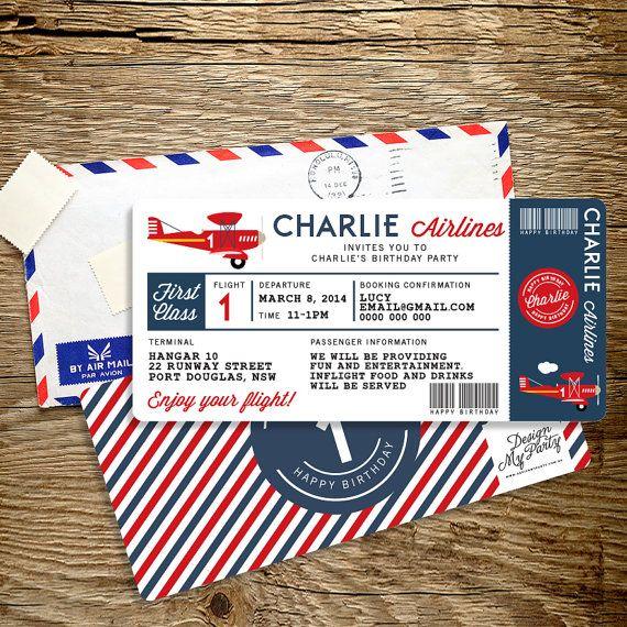 Airplane Birthday Invitation Diy Printable By Vindee On Etsy: Compagnie Aérienne Avion Billet Anniversaire Par