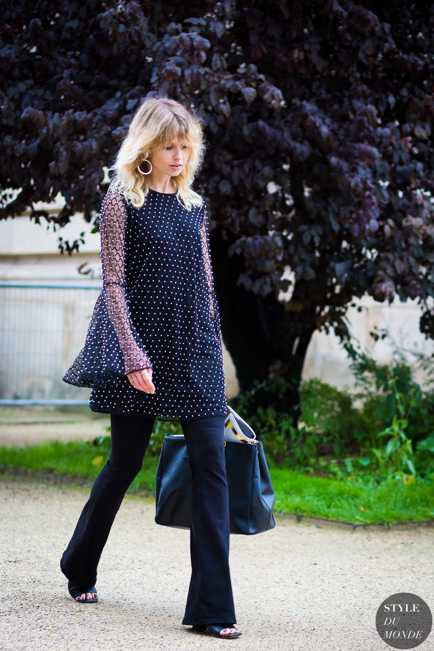 polka dot tunic and black pants street style