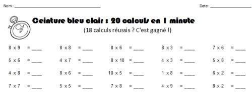 Ceintures de tables de multiplications facile mettre for Table de multiplication facile