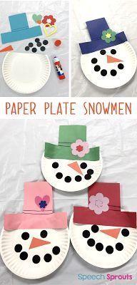 Machen Sie diese niedlichen Pappteller-Schneemänner, wenn für Ihr Schneemannthema. Spaß für V... #preschool