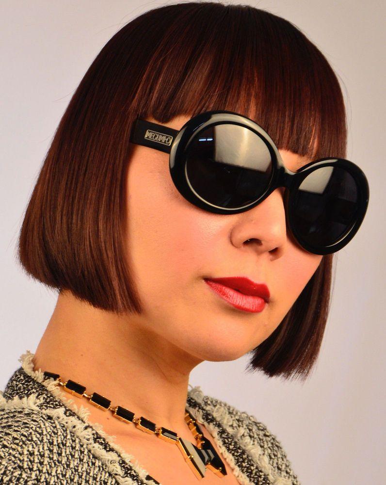 Megumio asian fit polairzed jackie o sunglasses black