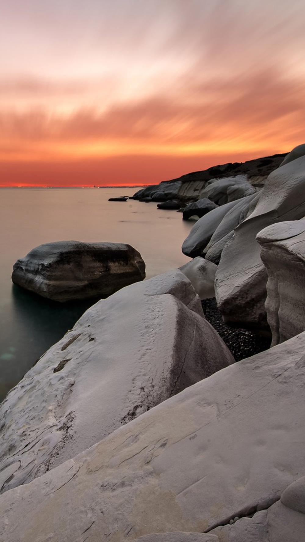 Sunset Rocks Ocean Coastal Free 4K Ultra HD Mobile