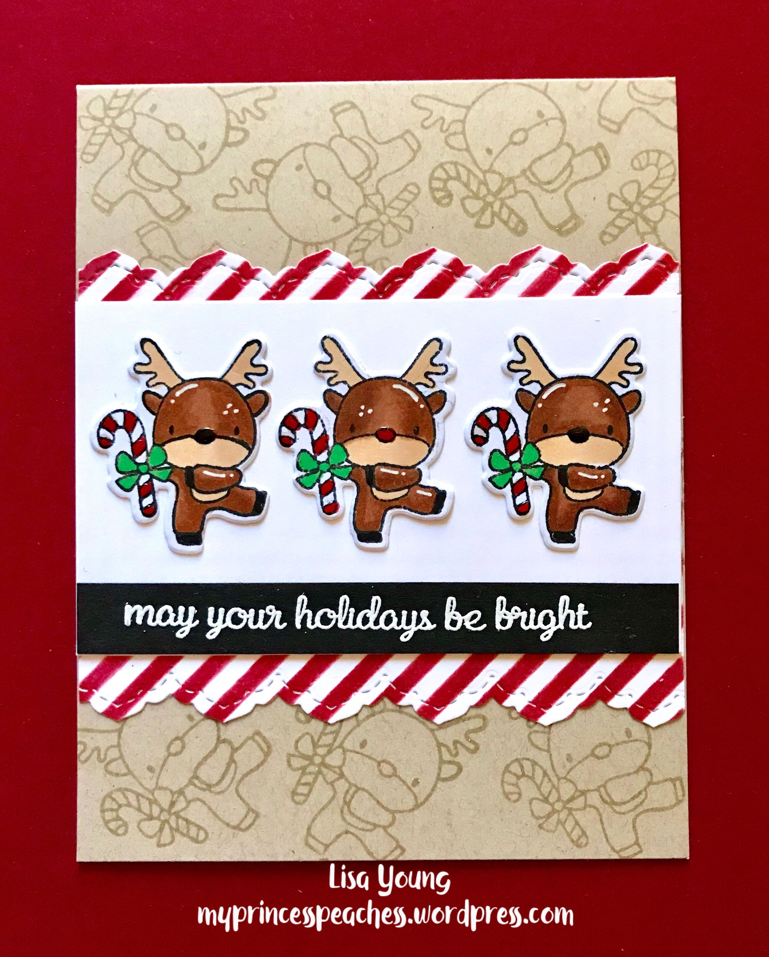 holiday cards 2017 mama elephant jingle all the way reindeer stamps and dies my princess peaches card designs - Holiday Cards 2017