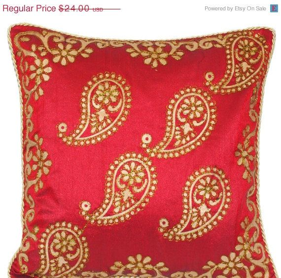 Paisley Pillow Maroon Throw Pillow Decorative Pillow 40x40 Pillow Interesting Maroon Decorative Pillows
