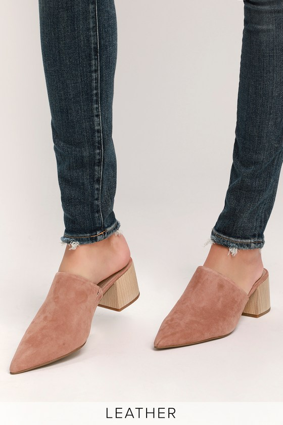 e3b503b4a69 Lulus | Florin Nude Suede Leather Pointed-Toe Mules | Size 6 in 2019 ...