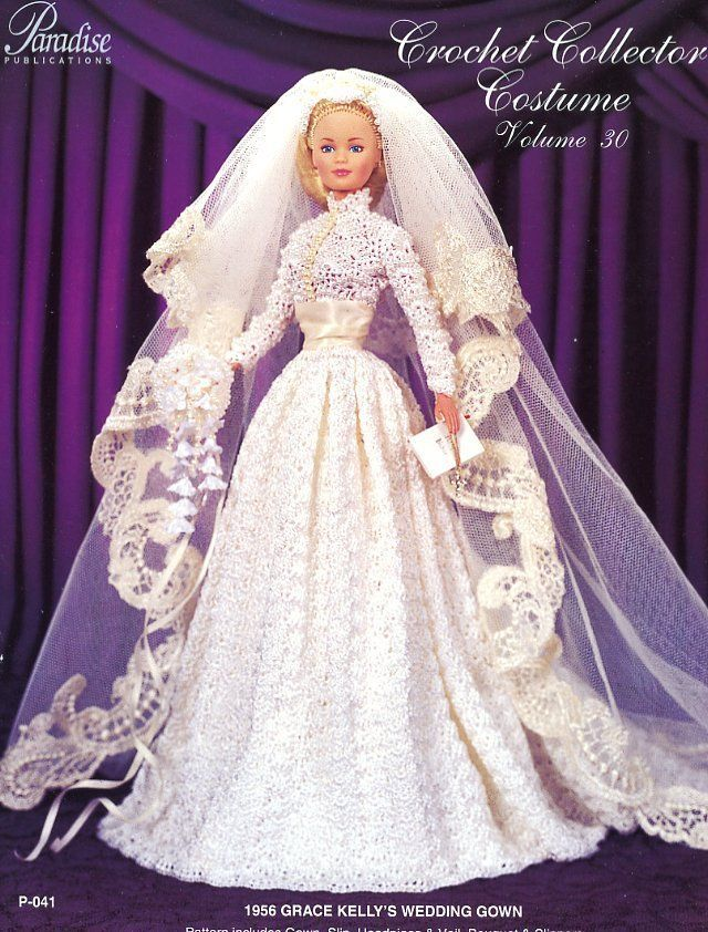 1956 Grace Kelly\'s Wedding Gown for Barbie Doll Paradise #30 Crochet ...