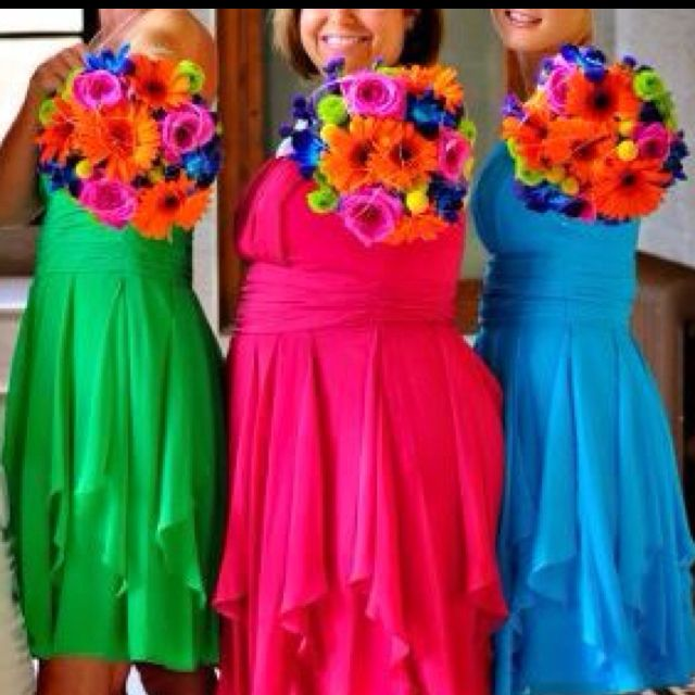 Multi-colored Bridesmaids Bouquets! I Also Like This