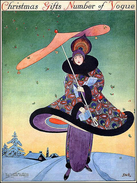 Gorgeous Vogue Girl with Flying Holly!--Vintage Magazine Cover