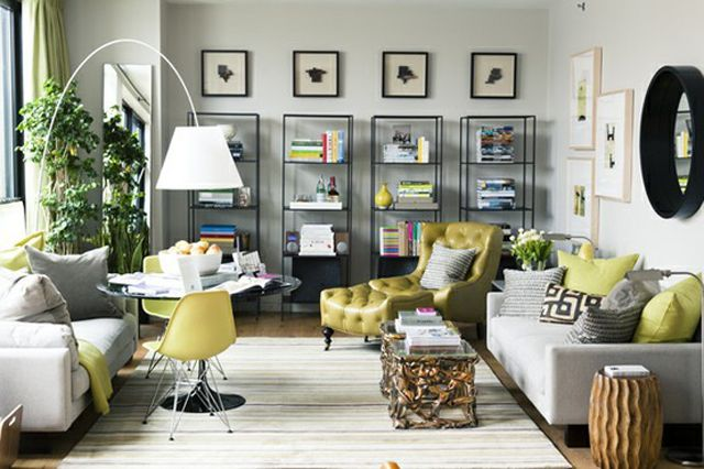 Small space with great use of color, shape, texture and layout