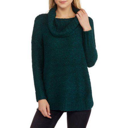 Faded Glory Women's Boucle Cowl Neck Sweater, Size: Medium, Blue ...