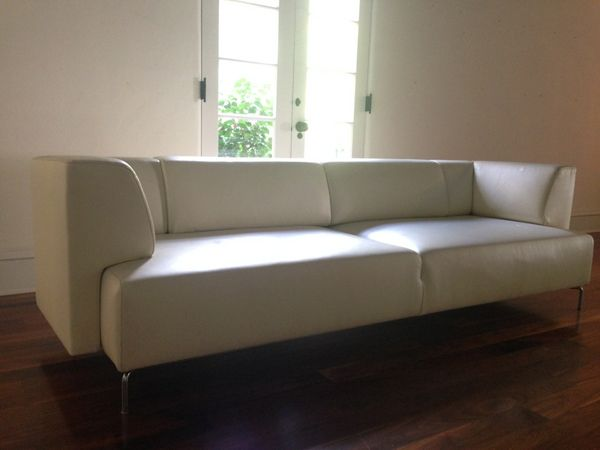 Elegant Modern Resale  Maurice Villency Sofa Two Ivory Leather Sofas. $6000 Each