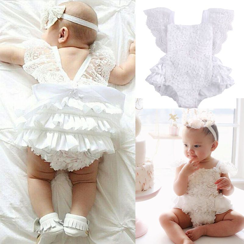 7a59bde854be Adorableborn Baby Girl Lace Floral Bodysuit Romper Outfits One-Piece Clothes