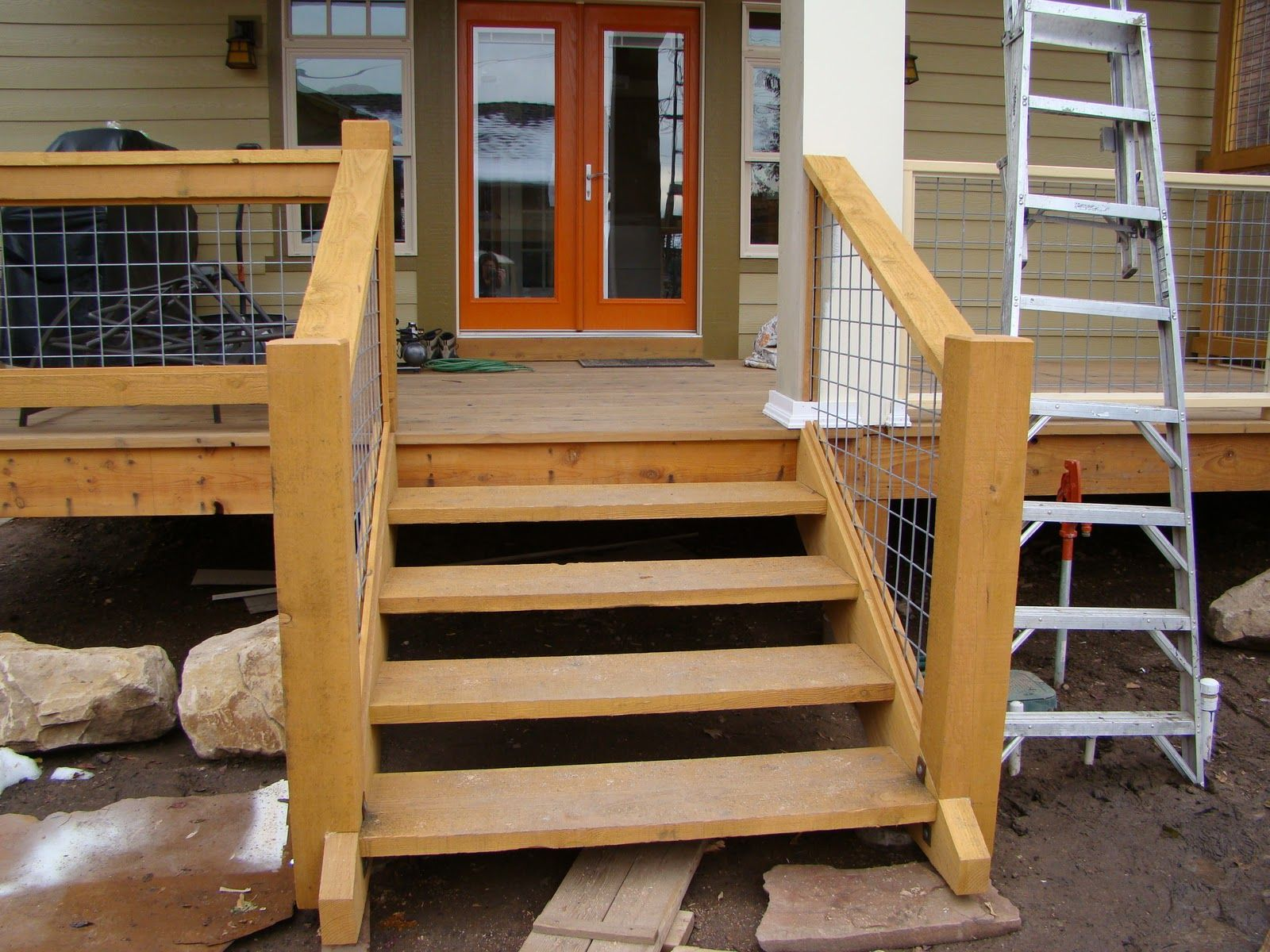 Hog Panel Stair Railing Google Search Outdoor Stair   Outdoor Deck Stair Railing