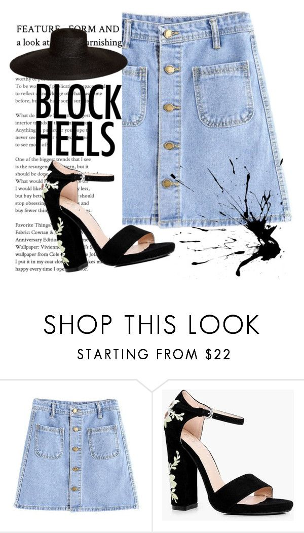 """""""Block heels"""" by alice-rosee on Polyvore featuring beauty, Boohoo and Samuji"""