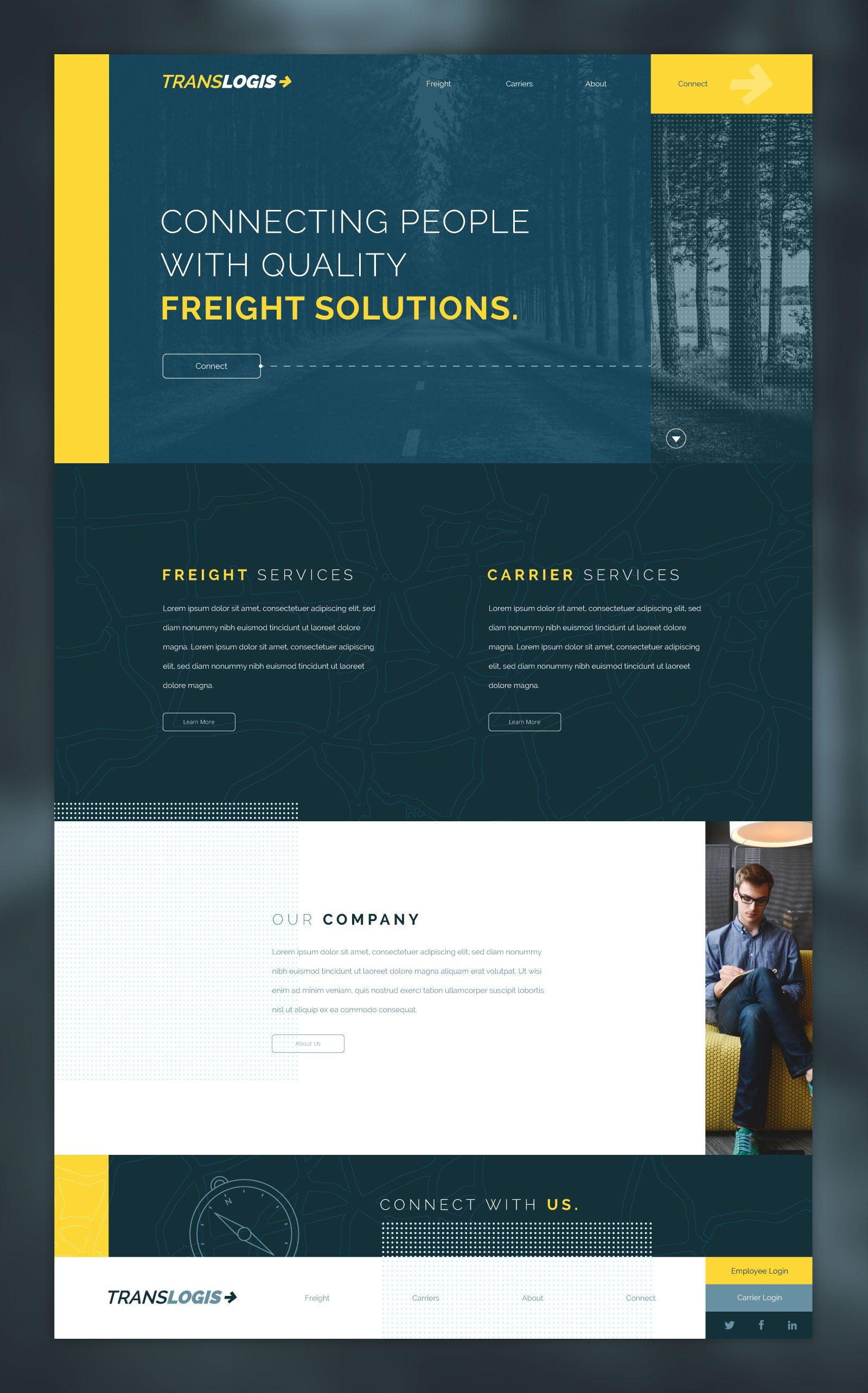 Logisticsmockup Alternate Hero Jpg By Eric Small In 2020 Blue Website Web Inspiration News Website Design