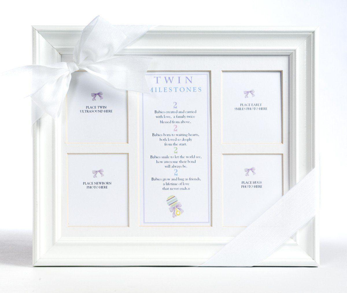The Grandparent Gift Co. 8x10 Twins Milestones Frame. 8x10 white ...
