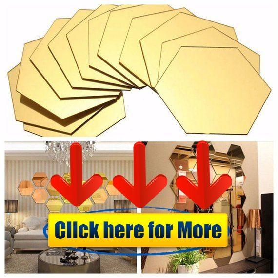 Gold Hexagon Mirror Wall Stickers 3D Acrylic Mirrored Decorative Sticker  Waterproof Home Decor Autoc #wallpaper #3d #iphonewallpaper #3dwallpaper  #Acrylic ...