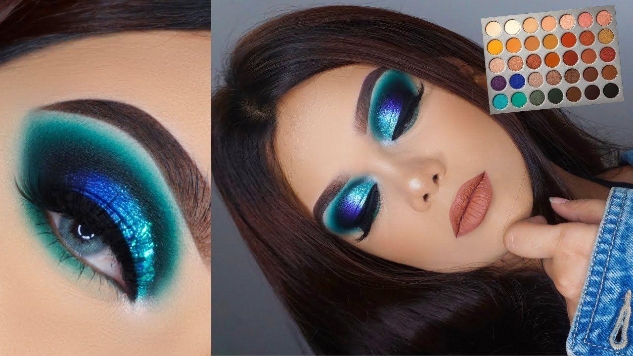 Jaclyn Hill X Morphe Palette Tutorial Ocean Blue Turquoise Smokey Eye Youtube Jaclyn Hill