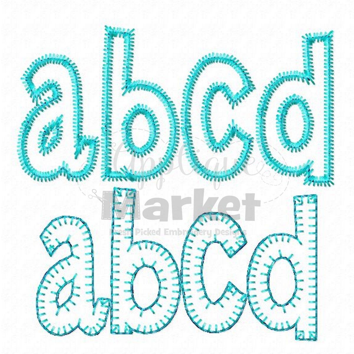 Henry applique alphabet blanket stitch sample embroidery