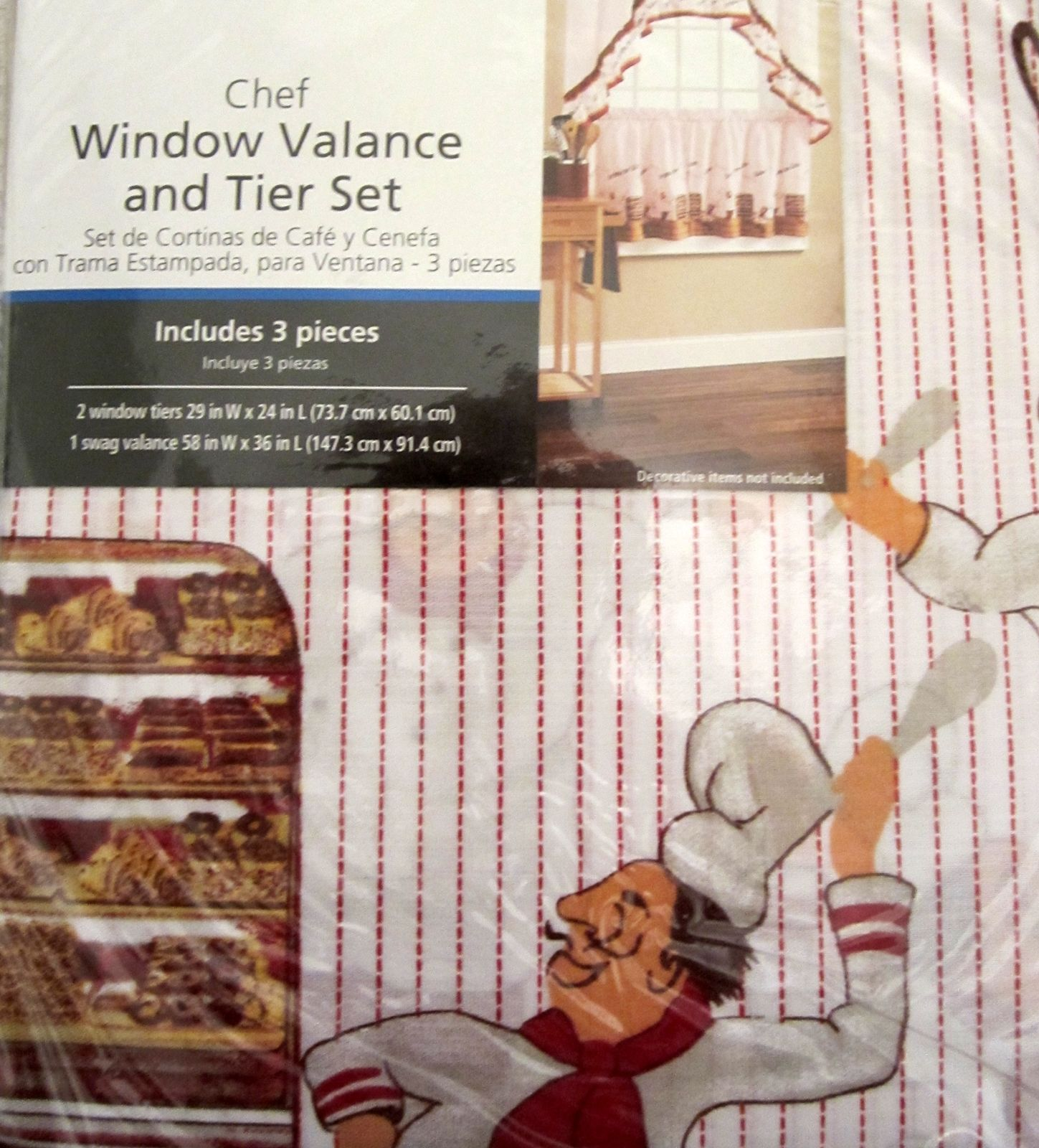 Pastry Chef Baker Red White 24L Tiers Swag Valance Kitchen Curtains Set |  Anns Home Decor