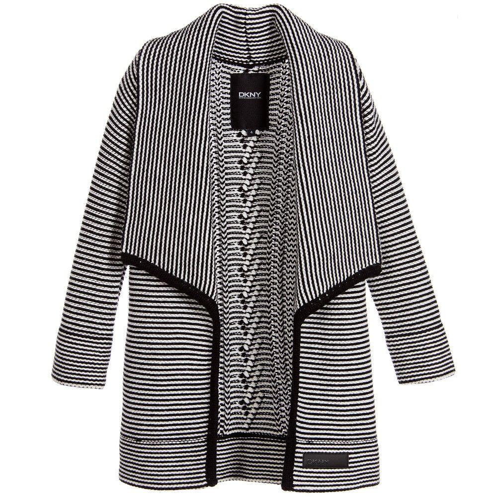 Girls Black & White Knitted Long Cardigan | Kid clothing