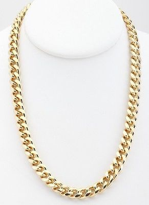 a9d87c99fd9 Details about 18K Gold Plated Curb Cuban Chain Necklace 9mm Warranty ...