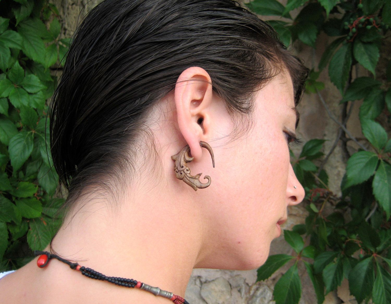 Fake gauge earrings wood spiral tribal earrings gauges