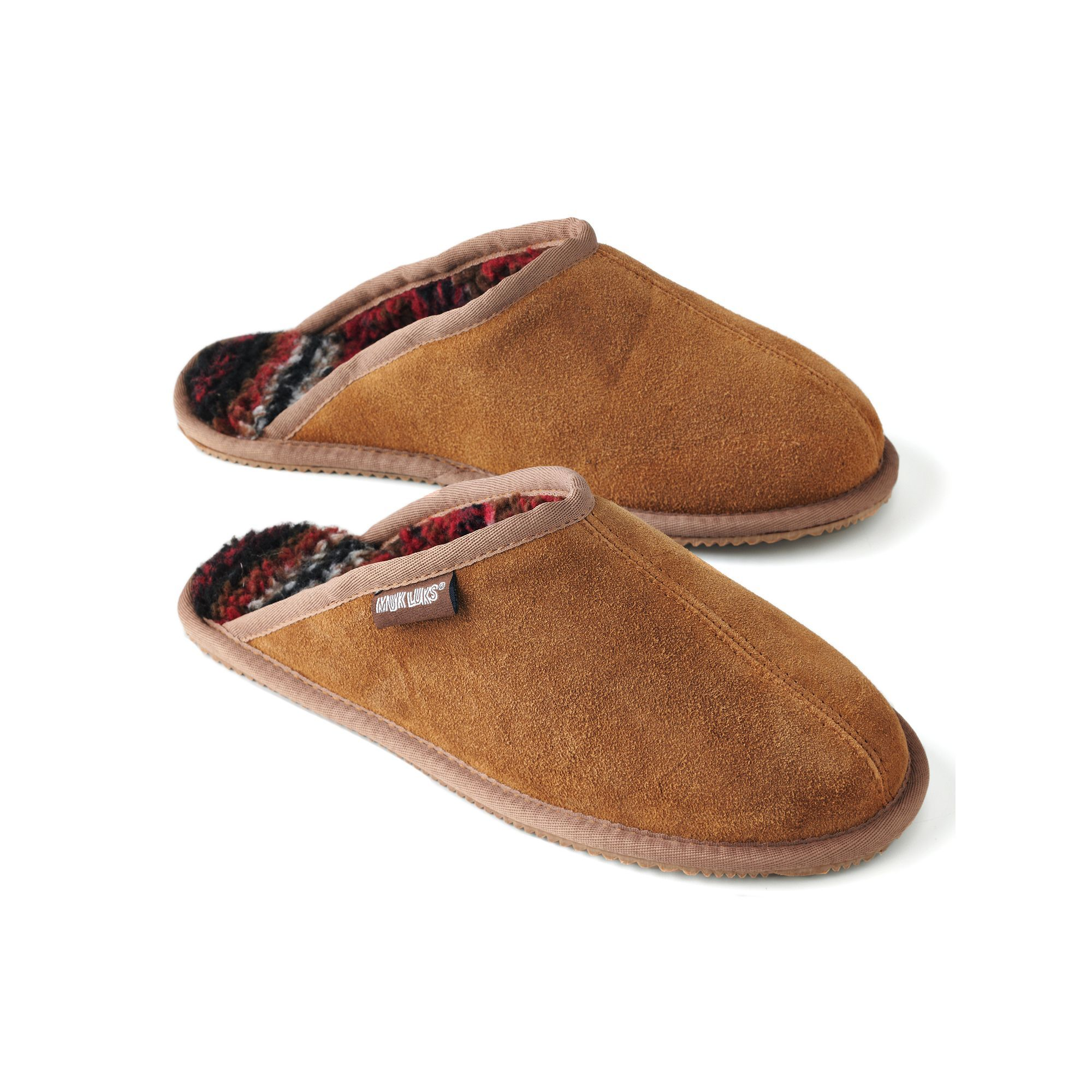 8f4a86ca208 MUK LUKS Men's Leather Suede Berber Fleece Scuff Slippers, Size: 13 ...