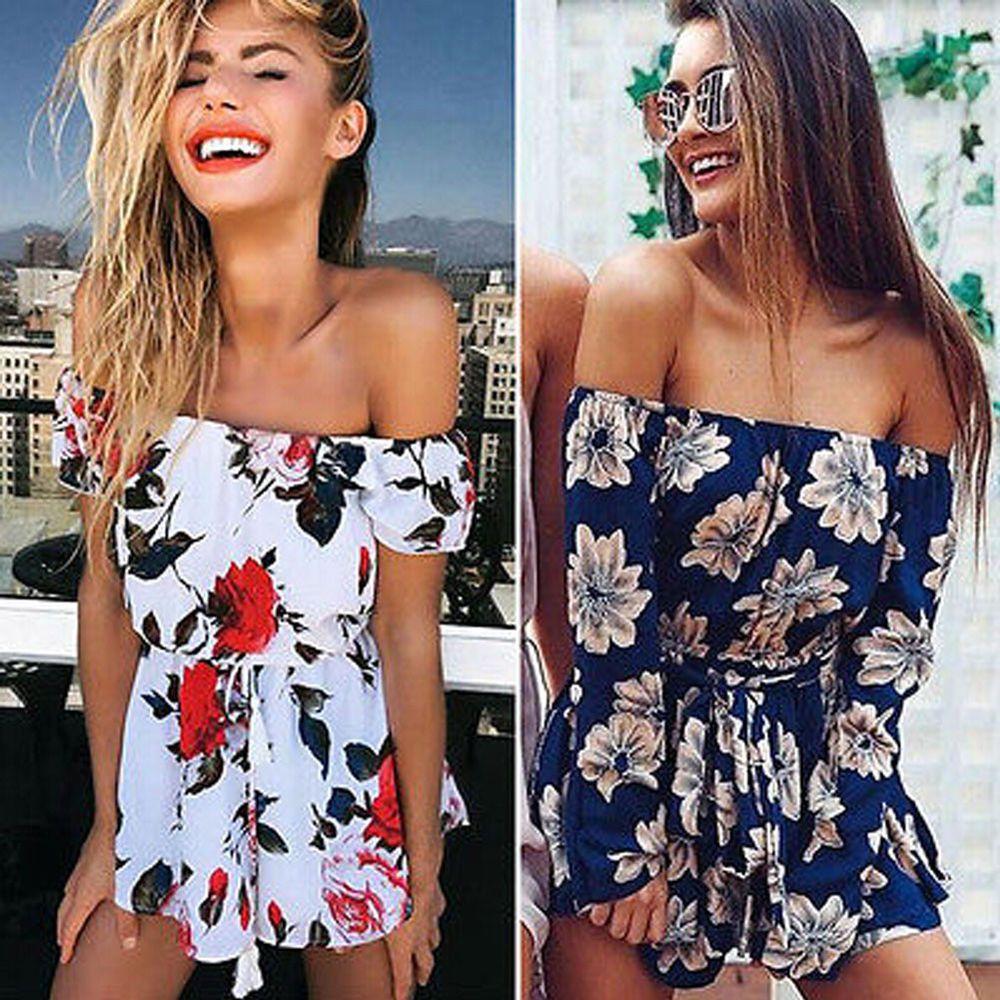 d67c25b968d Women s Off Shoulder Jumpsuit Pants Playsuit Summer Floral Romper Beach  Shorts  fashion  clothing