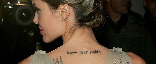 Angelina Jolie Tattoos 2019: Tatuaje Temerosa De Angelina Jolie: Diseños Y Significados