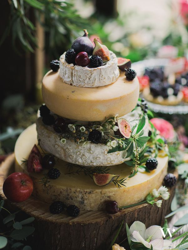 "Creative Confections: savory and sweet | wedding cake alternatives – fruit and cheese ""cake"" display"