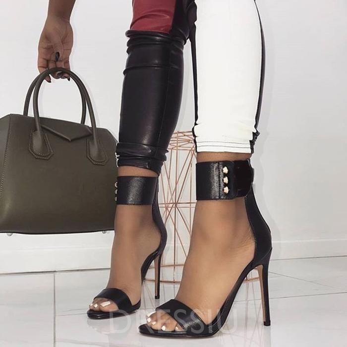 c26247b0a8 Stiletto Heel Open Toe Heel Covering Zipper Plain Rivet Sandals – dressiu