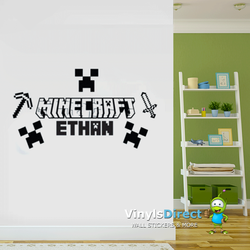 Minecraft Axe, Sword, Name And Creeper Wall Sticker Part 57