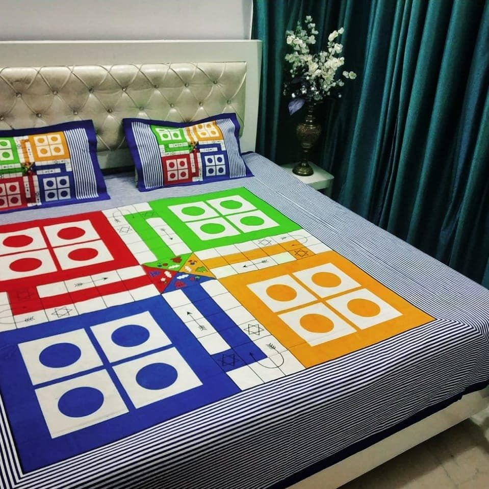 Ludo Snake And Ladder 90108 King Size Xl 100 Cotton King Size Ludo Jaipuri Prints Double Bed Sheet Set One D Double Bed Sheets Modern Bed Bed Sheet Sets 100 cotton king size sheets