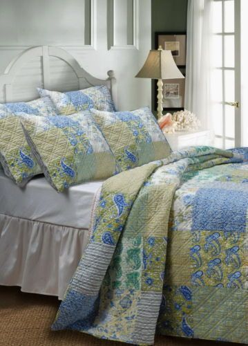 COUNTRY COTTAGE Floral Paisley Cotton Blue Green BEDSPREAD Oversized (to floor) Nice blue floral, soft color #cottage bedding