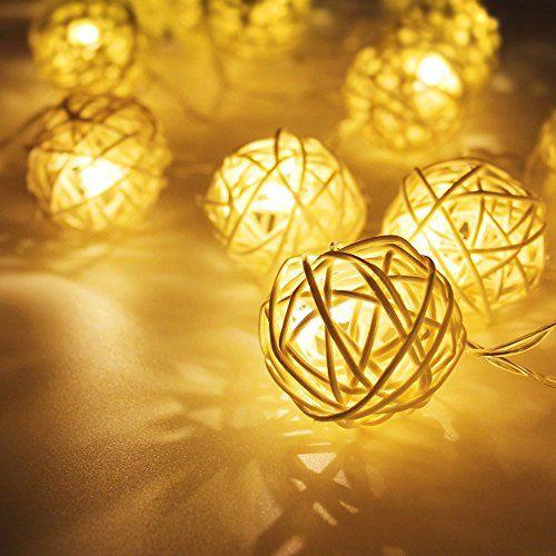 Decorative Light Balls Battery Powered 10Ft Rattan Ball Led String Light 2 Work Modes